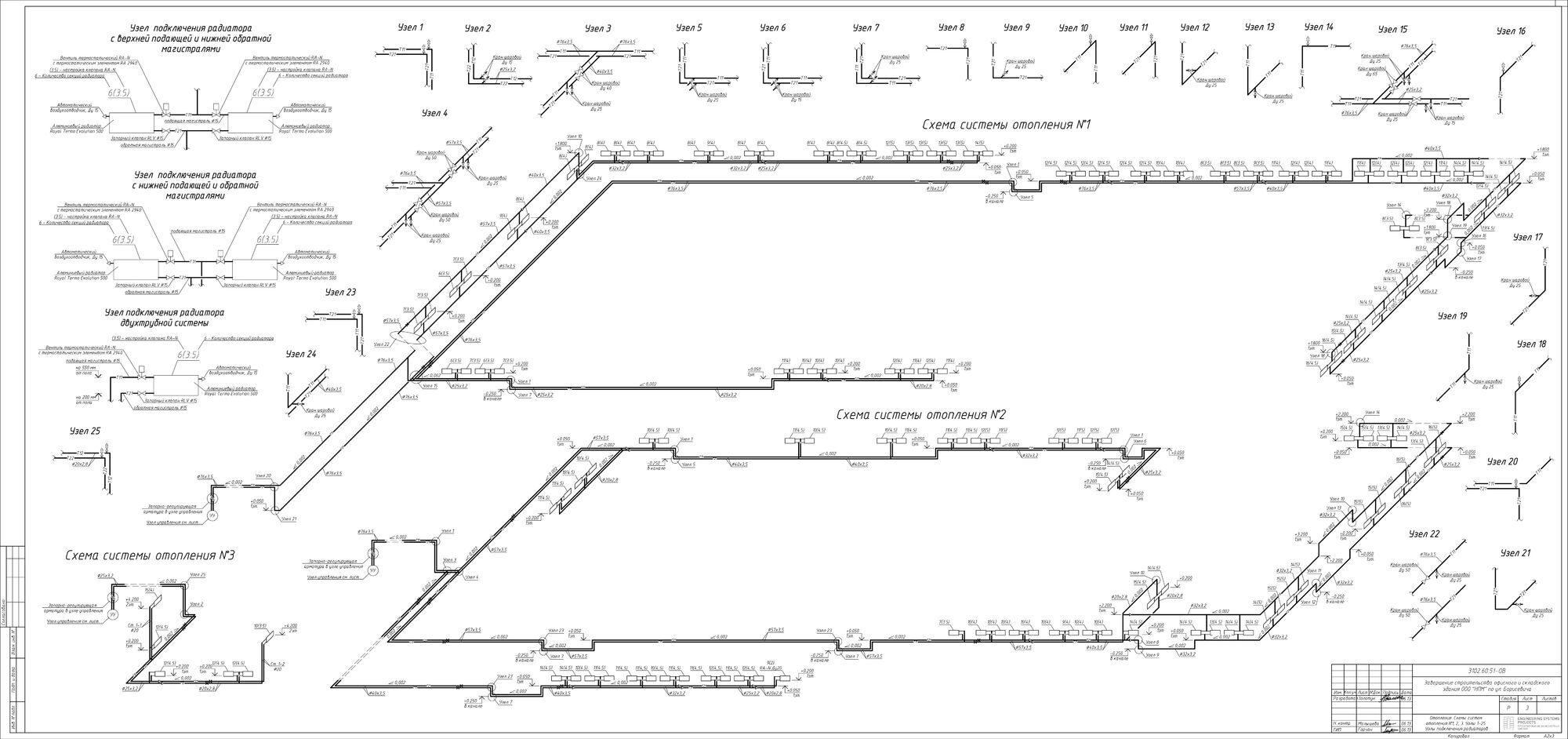 Схема системы отопления склада